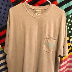 Grey Comfort Colors T-Shirt w Turquoise Phi Mu